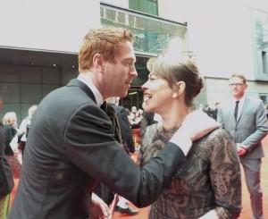 Damian Lewis greeting Nicola. © @MrsGilesFarmer